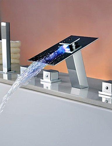Contemporanea in ottone cromato personalizzato gestisce tre cinque fori LED rubinetti vasca - Argento
