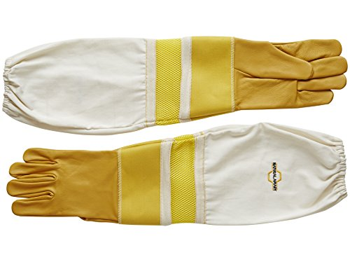 Natural Apiary® BEEKEEPING GLOVES - COWHIDE - VENTED SLEEVES & STING PROOF CUFFS - SMALL - Durable Leather - Extra Long Thick Sleeves 2
