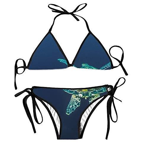 Women's Bathing Swimsuits Adjustable Strap Green Plants Bikini Set Two Pieces Swimwear (Aquarell Salz-und -)