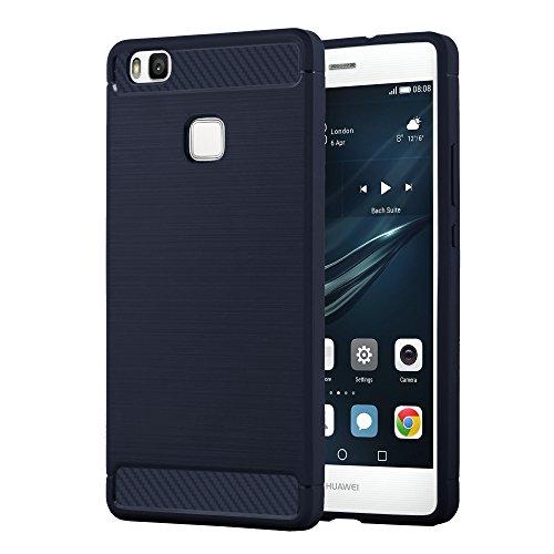 Preisvergleich Produktbild Cadorabo Hülle für Huawei P9 LITE - Hülle in Brushed BLAU – Handyhülle aus TPU Silikon in Edelstahl-Karbonfaser Optik - Silikonhülle Schutzhülle Ultra Slim Soft Back Cover Case Bumper