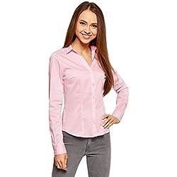 oodji Ultra Mujer Camisa Entallada con Escote EN V, Rosa, ES 42/L
