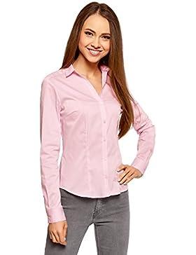 oodji Ultra Mujer Camisa Entallada con Escote en V