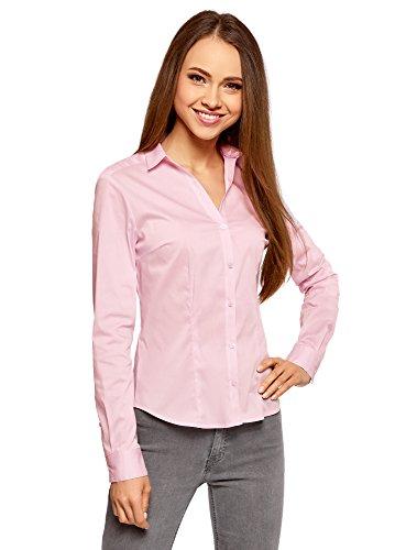 oodji Ultra Damen Taillierte Bluse mit V-Ausschnitt, Rosa, DE 42/EU 44/XL