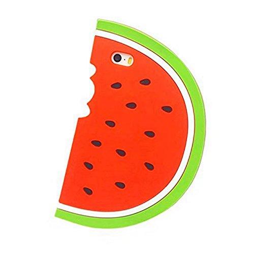 iPhone 7Cartoon Silikon Fall, Lovely Animals Design 3D Cartoon Charakter Handy Taschen Soft Rubber Cover für Apple iPhone 7, Wassermelone - Charakter Tasche