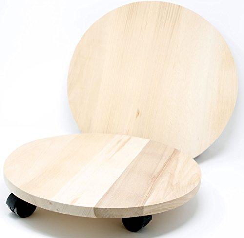 Mediablue Transportroller Pflanzenroller Holz MASSIV rund 350 mm bis 120 KG Pflanzen-Untersetzer mit Rollen (2)