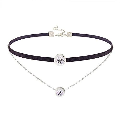 Jane Stone Damen Halskette Choker Kropfband mit Zirkon schwarz doppelt Kette schick enge anliegende Jocker Kette für junge Frau und Mädel