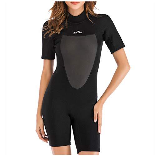 Anglewolf Damen Schwimmanzug Lang UV-Anzug Schutzkleidung Sunsuit Badeanzug One Piece Wetsuit Badebekleidung Wassersport Anzug mit Bein und Arm Einteiler Bademode(Schwarz,M)