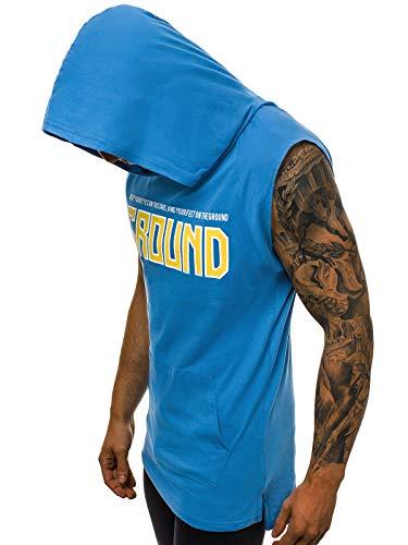 OZONEE Herren Tanktop Tank Top Tankshirt T-Shirt mit Print Kapuze Unterhemden Ärmellos Weste Muskelshirt Fitness 777/3510BO BLAU XL -
