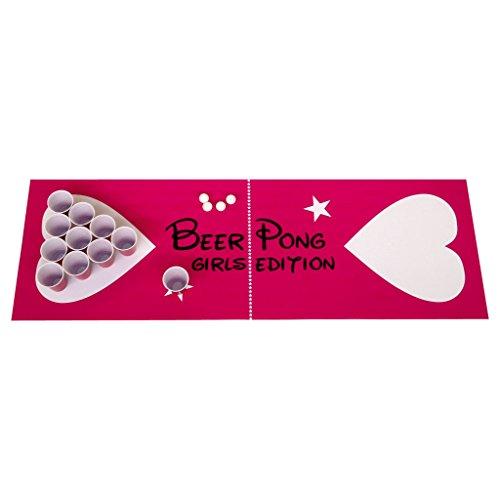 Beer Pong Beerpong Trinkspiel Set Girls Edition Spielfeld 220x50 + Becher Bälle