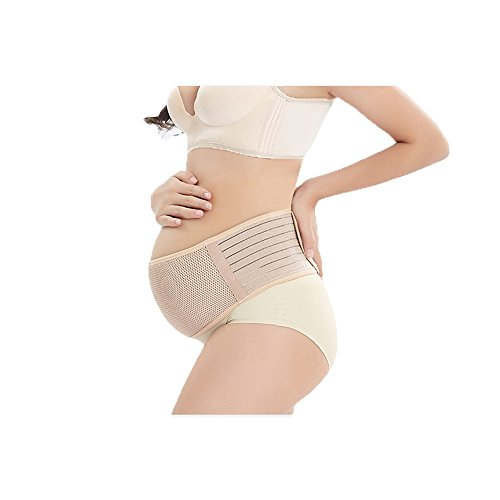 Merlinae Recommended Maternity Belt - Care Breathable Abdomen Support and Pelvic Support - Comfortable Belly Band for Pregnancy - Prenatal Cradle for Baby - One Size Beige