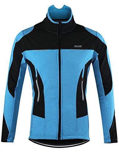 Lakaka-EU MTB Jacke Herren Wasserdicht Atmungsaktiv Fleece Warm Langarm Radsport Jacke Winddicht Herbst Winter Fahrrad Regenjacke -