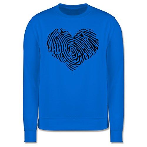 Statement Shirts - Herz Fingerabdruck Schwarz - Herren Premium Pullover Himmelblau