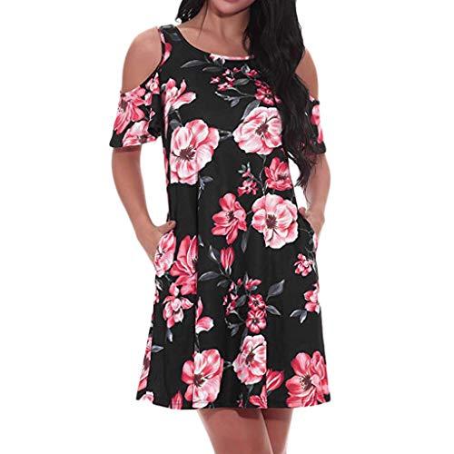 iHENGH Damen Frühling Sommer Rock Bequem Lässig Mode Kleider Frauen Röcke Schulterfrei Langarm Blumenmuster Lose Kleid(Rot, M)