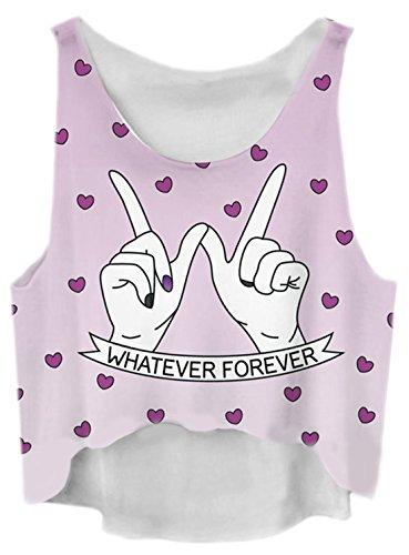 Lewi Brun - Damen Festival Crop Top bauchfreies Shirt bunter Herz Print, One Size, Violett Peace Jeans