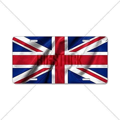 CafePress 3d bandera de Reino Unido Licencia Placa de aluminio satinado–estándar Multi-color