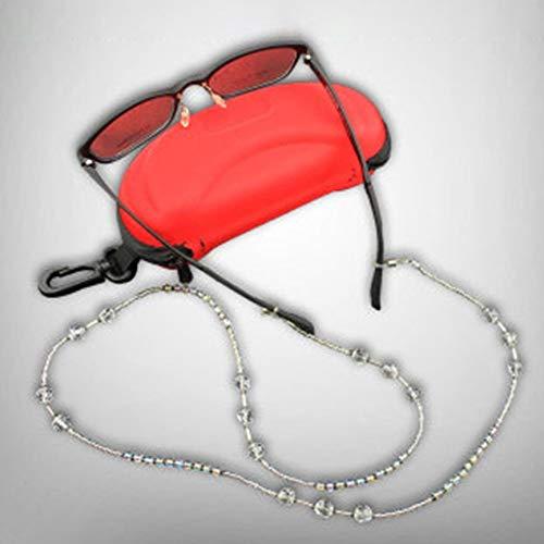 VCBBVG Dekorative Perlen Sonnenbrillen Schnur Brillenhalter Mode Brille Halsband-Silber & transparent