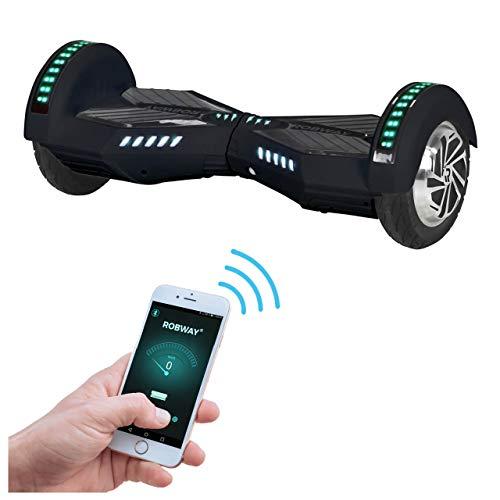 Robway W2 Hoverboard - Das Original - Samsung Marken Akku - Self Balance - Bluetooth - 2 x 350 Watt Motoren - 8 Zoll Räder (Schwarz Matt)