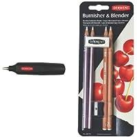 Derwent - Pack goma de borrar a pilas + 4 unidades lápices de madera (2 abrillantador, 2 mezclador)