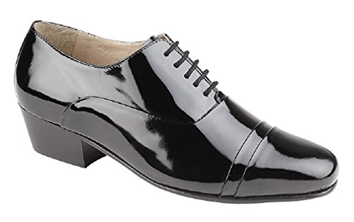 Leder-patent Leder Heels (Montecatini REYES Mens Patent Cuban Heel Lace Up Shoes Black UK 9)