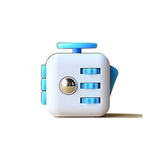 Fidget Cube Toy Anxiety Attention Toy Gift Stress Relief for Children and Adults (White / Blue)