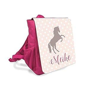 Kinder-rucksack für Mädchen mit Namen u. Pferd