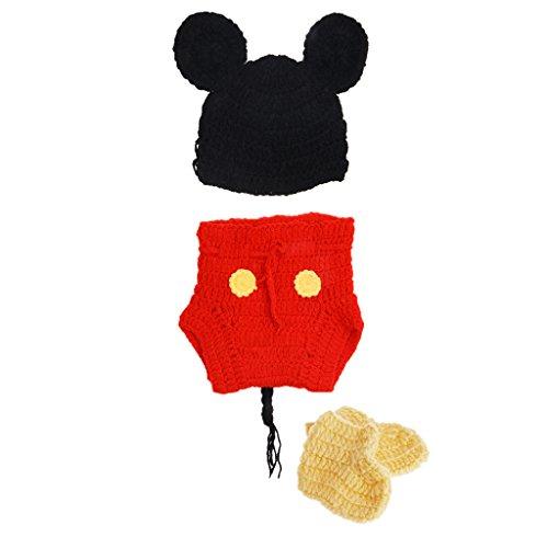 Kostüm Baby Autositz Im - Baoyl Häkelanzug für Neugeborene, Babys, Mädchen, Jungen, Kleinkinder, Häkelanzug, niedliches Cartoon-Kostüm, Fotografie-Requisiten, 3 Stück