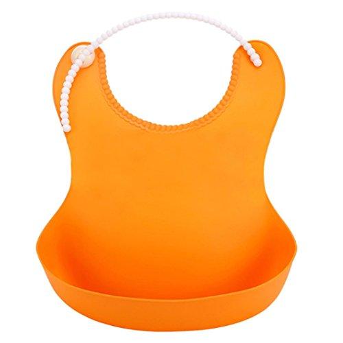 Silikon-Lätzchen für Babys, Cartoon-Speichel, tropfend, wasserfest, mit Lebensmittelfänger Einheitsgröße Orange