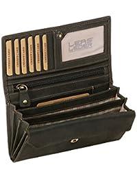 Damenlangbörse im Vintage-Stil LEAS MCL in Echt-Leder, schwarz - LEAS Basic-Vintage-Collection