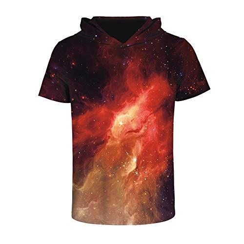 2077786fb5550c XMDNYE Abbigliamento Uomo/Donna Stampa 3D T-Shirt con Cappuccio a Maniche  Corte Rossa Galaxy Space Traspirante Quick Dry Sweats Tops Tees