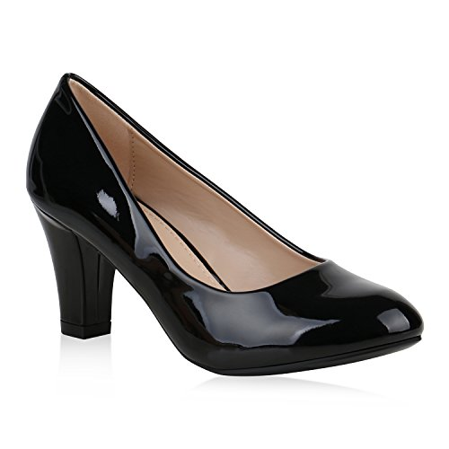 Klassische Damen Pumps Lack Business Schuhe Mid Heels Absatzschuhe 157374 Schwarz Bernice 39 Flandell
