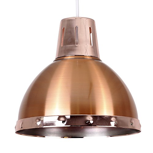 Retro Style Satin Copper Metal Domed Ceiling Pendant Light Shade