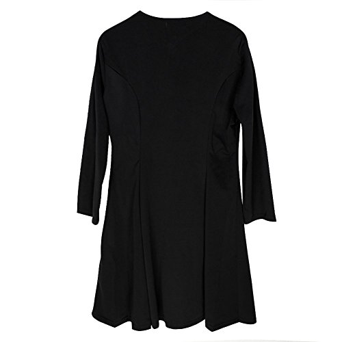 Eleery Femme Robe Mini Zip Col V Sexy Ajusté Slim 3/4 Longues Manches Basique Simple Clubwear Cockpit Noir