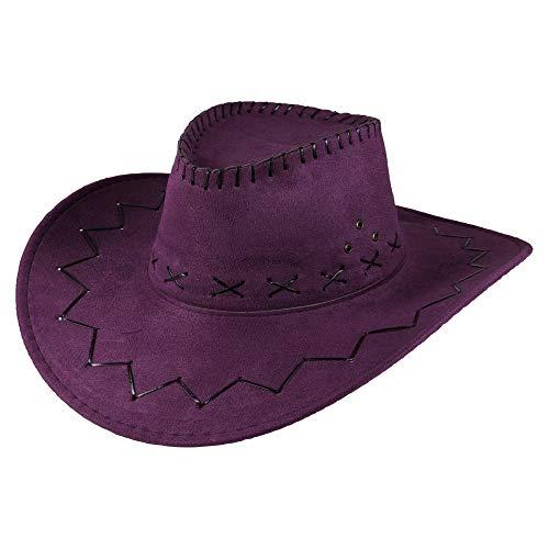 Cowboy Hut Sheriff Fasching Masken Perücke Maske - Zick Zack Muster Violett - Alte West Kostüm Frauen