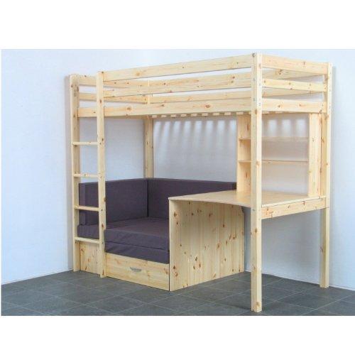 *Thuka Hochbett 90×200 Kiefer massiv Bett Kinderbett Gästebett Schreibtisch*