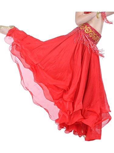 Kostüm Rot Stich - Damen Bauchtanz Rock dreischichtige Chiffonrock Tanzrock (Rot)