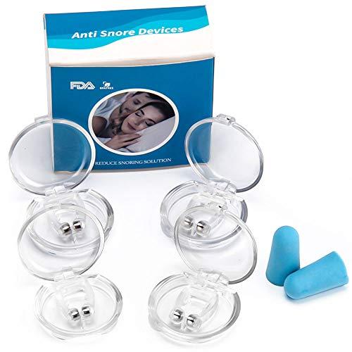 Zndio Schnarchstopper-Anti Schnarch Nasenclip Schnarchschiene Nasenspreizer mit Magnet aus Medizinisches Material BPA-Frei Sofortige Anti Schnarch Hilfe inkl. Transportbox(4 Stück)
