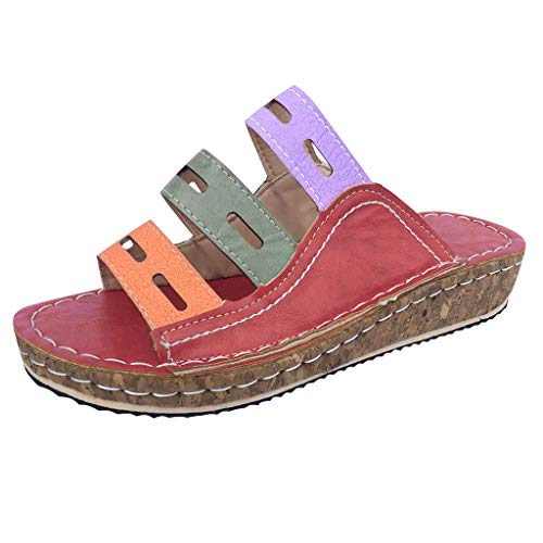 HWTOP Damen Wedges Sandalen Keilpumps Mokassins Slipper Casual Slip On Schuhe Sommerschuhe Vintage Flache Schuhe Hausschuhe Strandschuhe (36 EU, Rot)