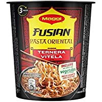 MAGGI Fusian Pasta Oriental Noodles Sabor Ternera - Fideos Orientales - Paquete de 8 x 62 g - Total: 496 gr