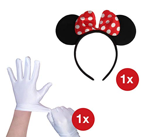 TK Gruppe Timo Klingler Maus Kostüm Minnie Micky Haarreif Maus Ohren Schleife und 2X Handschuhe weiß Weiss, Kostüm Verkleidung Damen