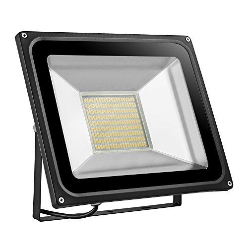 Foco proyector LED 20W/30W/50W/100W/150W/200W para exteriores, 1000LM-14000LM, Blanco frio 6000-6500K/Blanco cálido 2800K-3500K resistente al agua IP65, luz amplia, luz de seguridad Floodlight (ES-D4PT100WB220V)