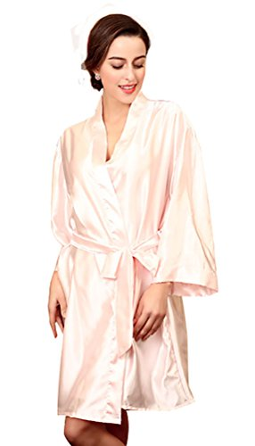 NiSeng donna pigiama seta estivo manica lunga satin accappatoio cintura abito da sera Rosa chiaro