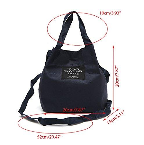 Dairyshop Sacchetto di spalla della borsa della traversa della tela di canapa delle donne (Grigio) Deep Blue