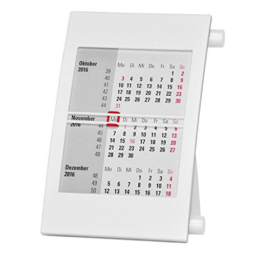 Truento 3-Monats-Tischkalender für 2 Jahre (2018 & 2019) - mit Drehmechanik - weiß/weiß