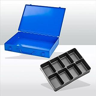 ADB Sortimentskoffer/Sortimentskasten / Kleinteilemagazin/Kleinteilebox aus Metall, mit 8-fach Einteiler, ABS Kunststofffächer, Blau (RAL 5015), Schlag- und kra
