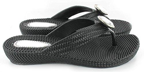 Femme de plage dété pour femme Strass String Confort Sandales Tongs Sizes3–8NEUF Noir