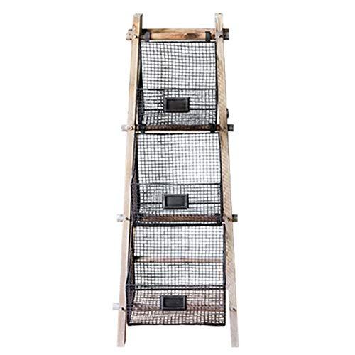CAIJUN Trittleiter Multifunktion Massivholz Retro Lager Schmiedeeisen Korb Faltbar Ganzes Outfit Innen, 3-Stufen-Leiter Dual-Use (Farbe : Holzfarbe, größe : 40x44x104cm)