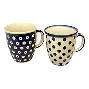 Bunzlauer Keramik Manufaktura Hand-Decorated Polish Pottery Manu Faktura Set K 08170A 61X Cup Pack of 2Mars 9.0cm, cobalt blue, 2Units