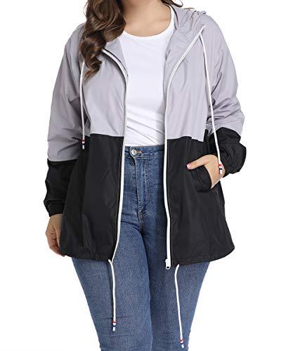 Regenjacke Damen Regenmantel Große Größen Windbreaker Jacke Wasserdicht Winddicht Softshelljacken Windjacke Outdoorjacke XL-5XL