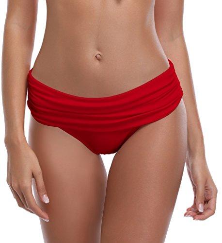 SHEKINI Bikini Slip per Donna A Vita Media triangolo Classic Foldover Slip Bikini Ruched Pezzo sotto Bikini Bottom pantaloni nuoto Costumi Da Bagno Culotte slip Mare Rosso