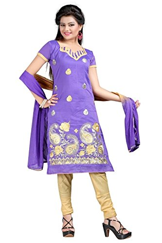 I-Brand Purple Color Chanderi Fabric Embroidered With Stonework Salwar - Suit (Semi-Stitched) ( New Arrival Latest Best Design Beautiful Dresses Material Collection For Women and Girl Party wear Festival wear Special Function Events Wear In Low Price With High Demand Todays Special Offer and Deals with Fancy Designer and Bollywood Collection 2017 Punjabi Anarkali Chudidar Patialas Plazo pattern Suits )  available at amazon for Rs.367